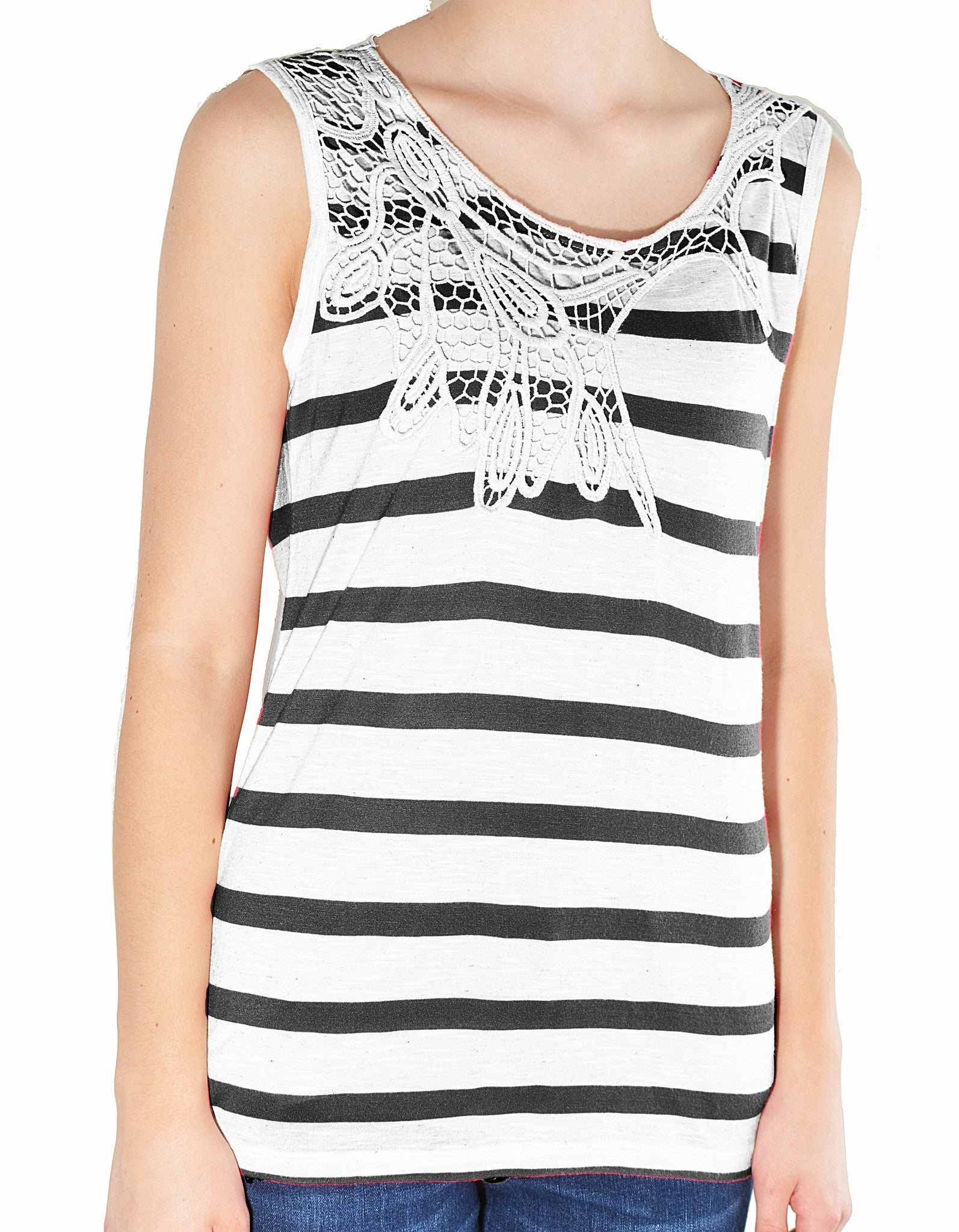 Po Pori Womens Striped Tank Top (Black White),Shirts,Po Pori - Discount Divas