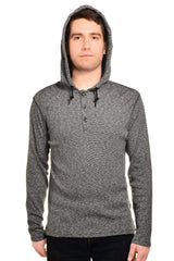 DKNY Jeans Mens Long Sleeve Hooded Henley Shirt (Dark Gray),Shirts,DKNY Jeans - Discount Divas
