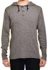 DKNY Jeans Mens Long Sleeve Hooded Henley Shirt,Shirts,DKNY Jeans - Discount Divas