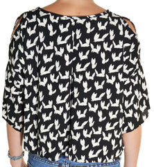 Joyce Fox Print Cold Shoulder Blouse,Shirts,Joyce - Discount Divas