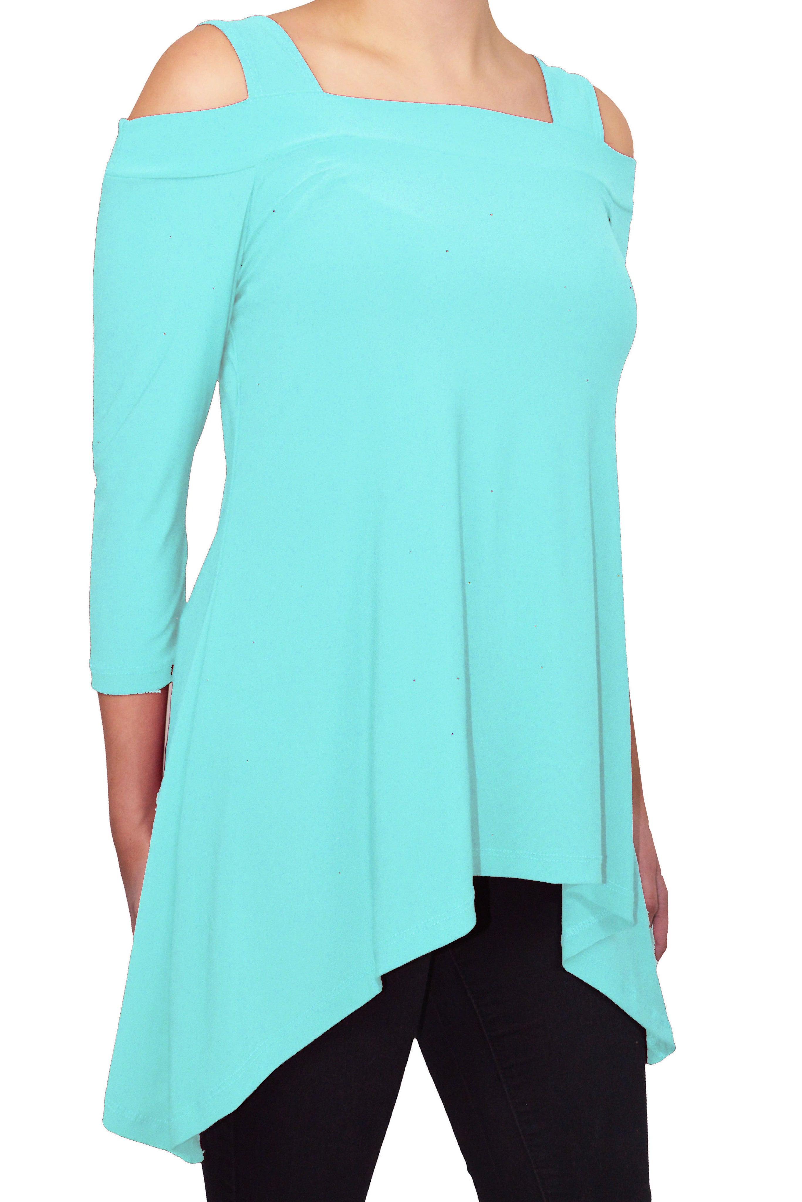 Avital Cold Shoulder Trapeze Tunic Shirt | Eggshell Aqua Blue