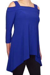 Avital Cold Shoulder Trapeze Top (Royal Blue Solid)