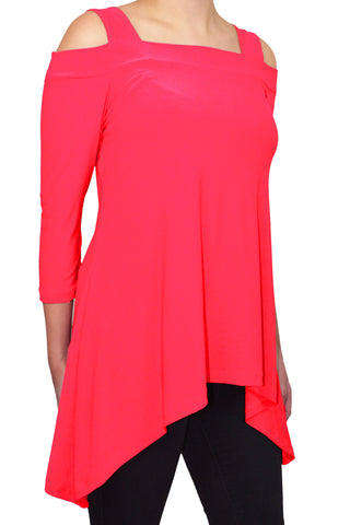 Avital Cold Shoulder Trapeze Tunic Shirt | Neon Hot Pink