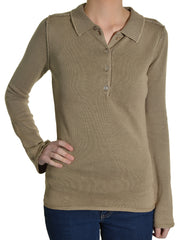Level 99 Womens Collared Pullover Knit  Polo Sweater | Brown