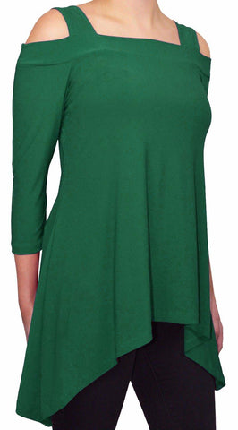 Moraea Womens Cold Shoulder Tunic Shirt | Evergreen