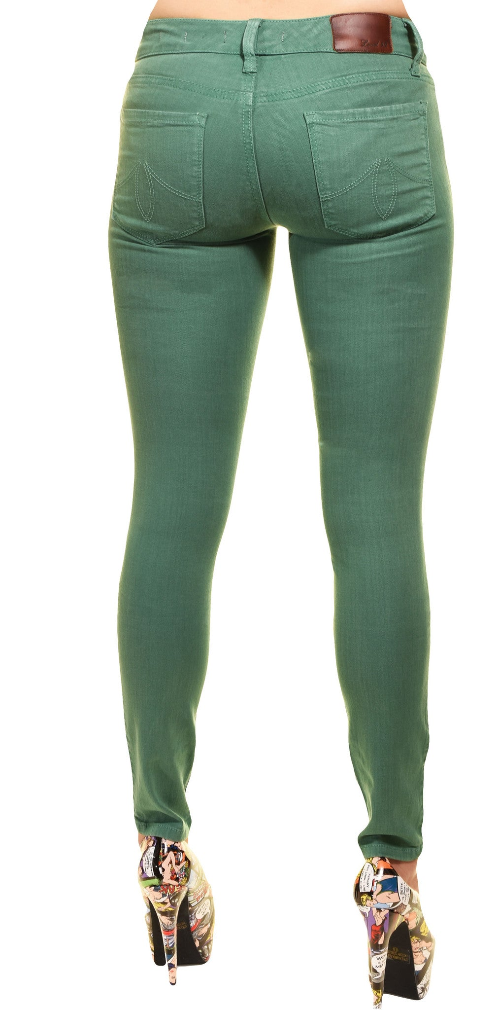 Level 99 Womens Janice Ultra Skinny Jeans (Green),Jeans,Level 99 - Discount Divas