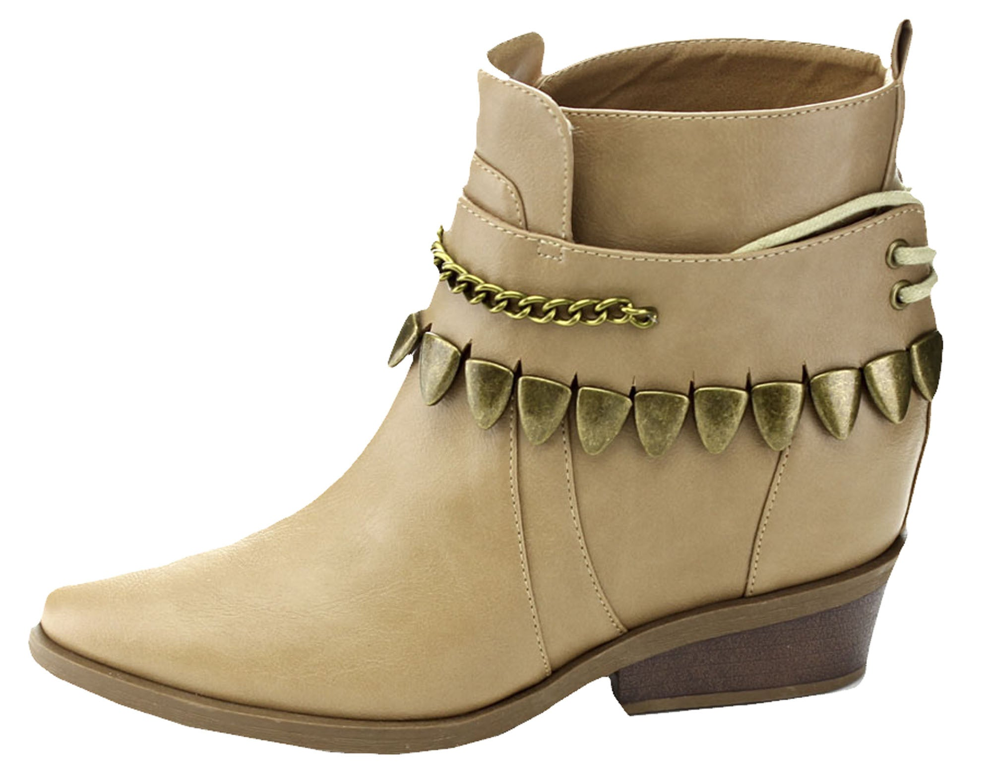 Bumper Pamee05 Womens Ankle Boots (Nude Brown),Boots,Bumper - Discount Divas