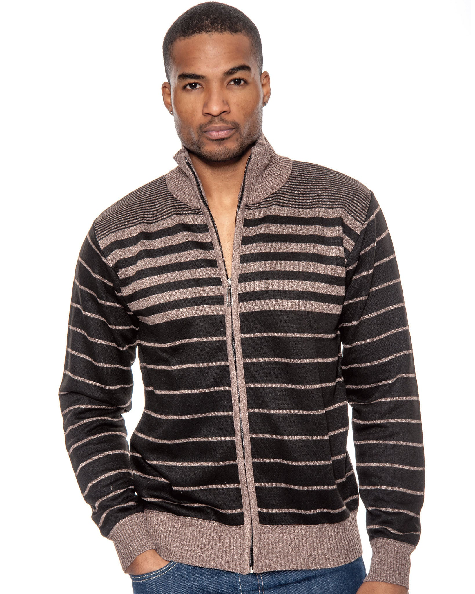 True Rock Mens Striped Full Zipper Knit Sweater Jacket | Brown Black