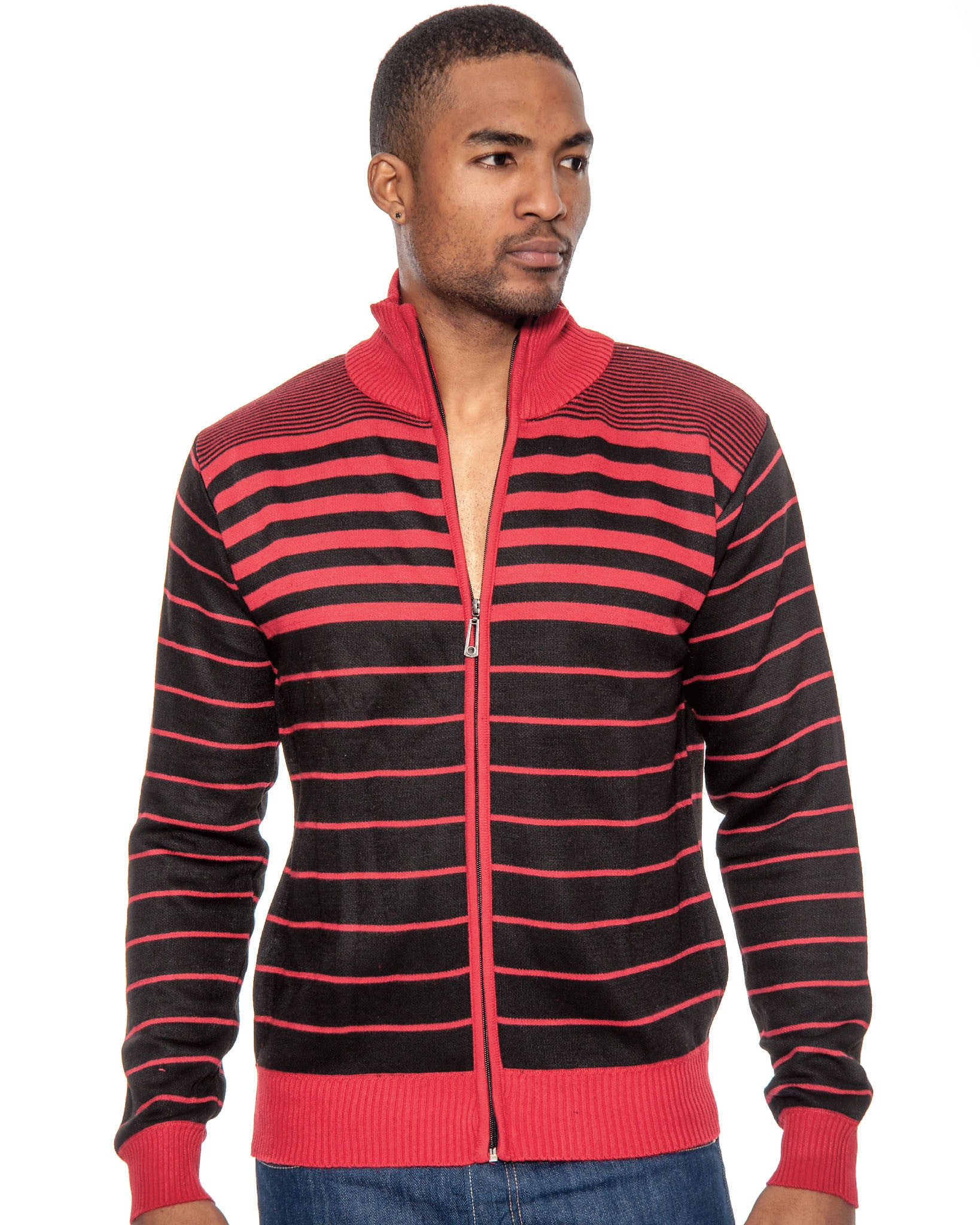 True Rock Mens Striped Full Zipper Knit Sweater Jacket | Red Black