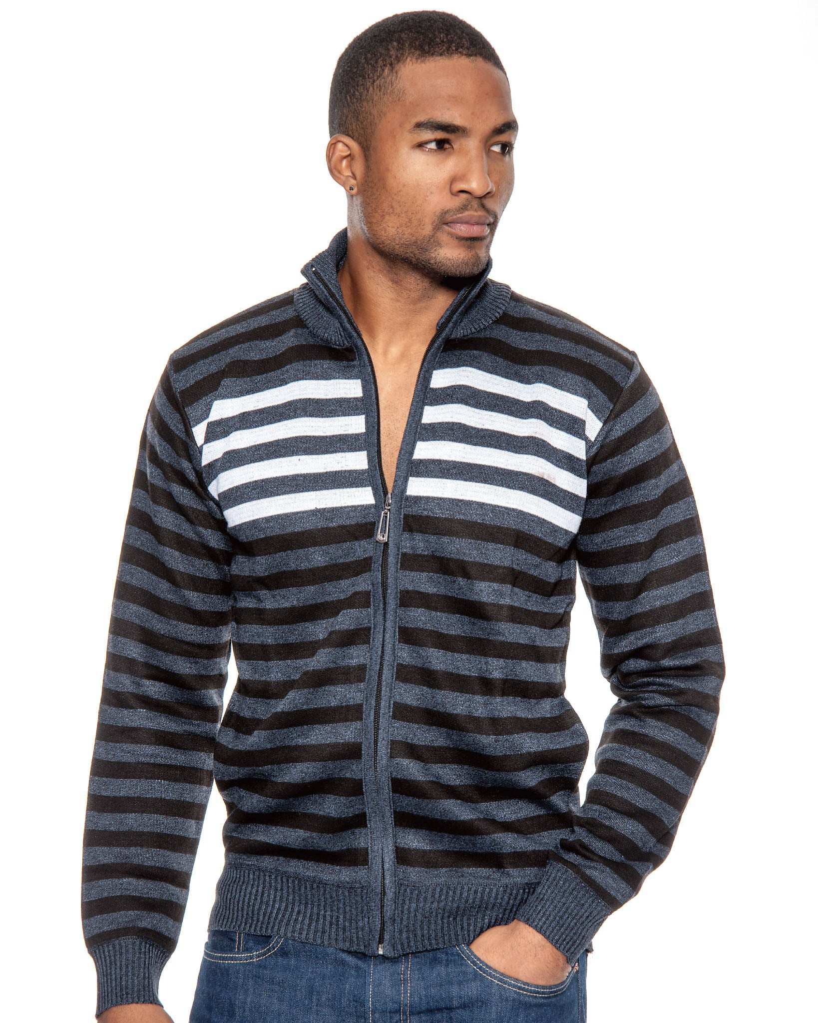 True Rock Mens Striped Full Zipper Knit Sweater Jacket | Navy Blue Black White