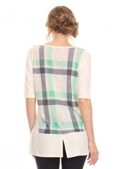 Vision Womens Plaid Split Back Tunic Shirt | White Green Blue