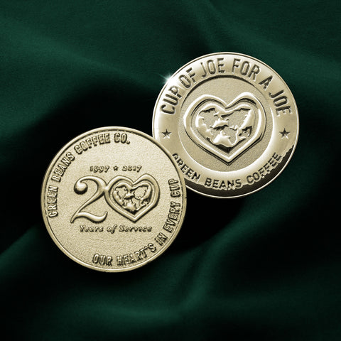 Limited Edition Green Beans Coffee 20th Anniversary Challenge Coin