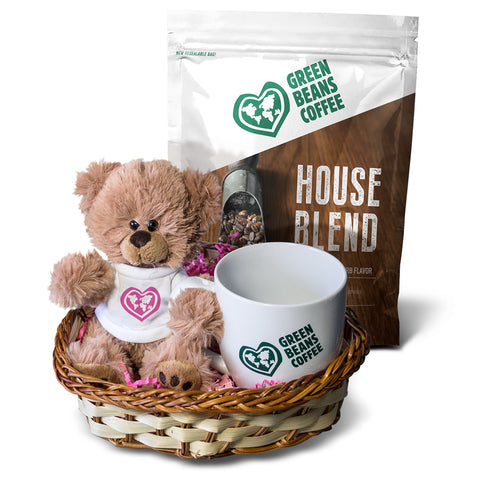 Green Beans Coffee & Teddy Bear Gift Basket