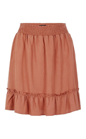 PIECES Why Muria Lyocell Smock Skirt - Copper Brown-Mulieres.dk