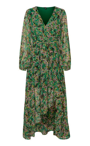 VERO MODA Anneline Ancle Dress - Black/Green-Mulieres.dk