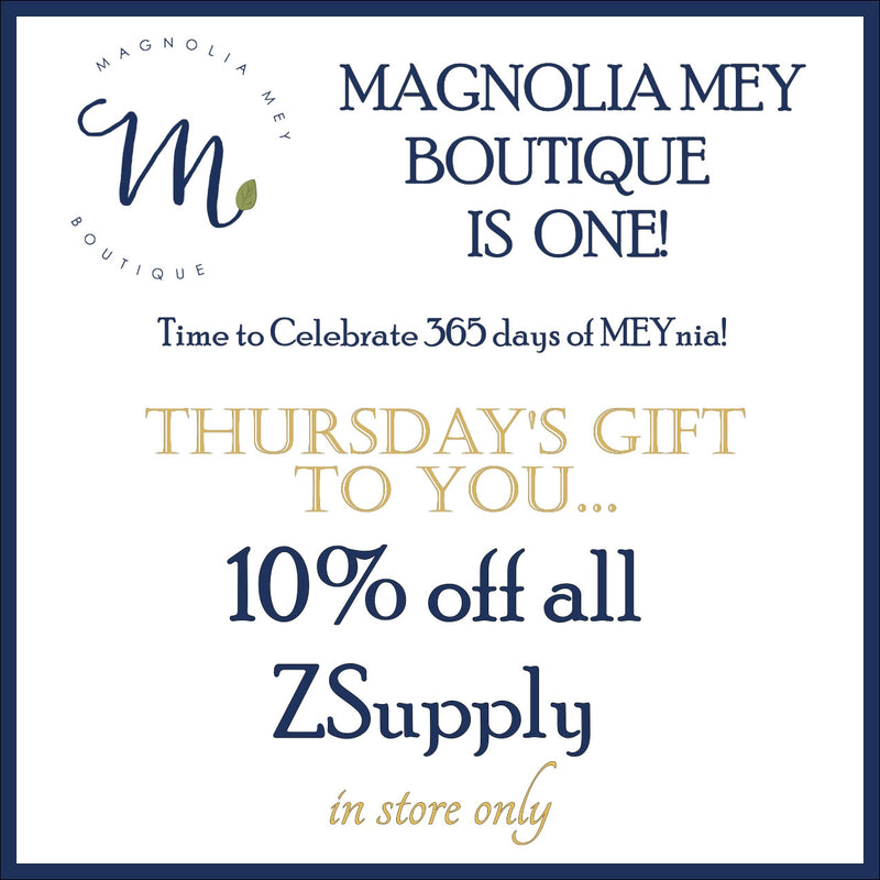 It's a Magnolia Mey birthday week and we have a gift for you today!  Open to see how much you can save in store today on ZSupply!!!!