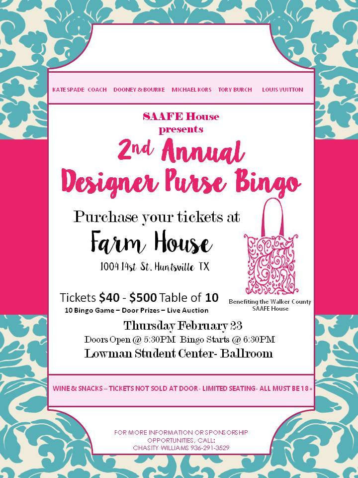 This Girls' Night Out has a big heart!  We are so happy to sponsor the SAAFE House Designer Purse Bingo!!
