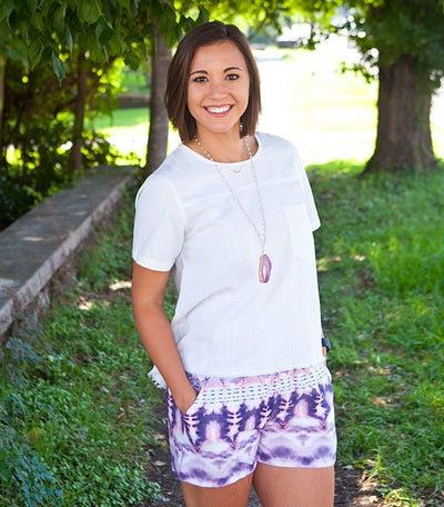 "Wear these ""Looking for Love"" lavender shorts 3 ways..."