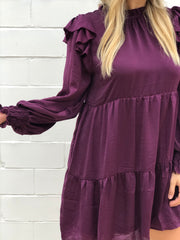 LUMINOUS RUFFLE DRESS - PLUM