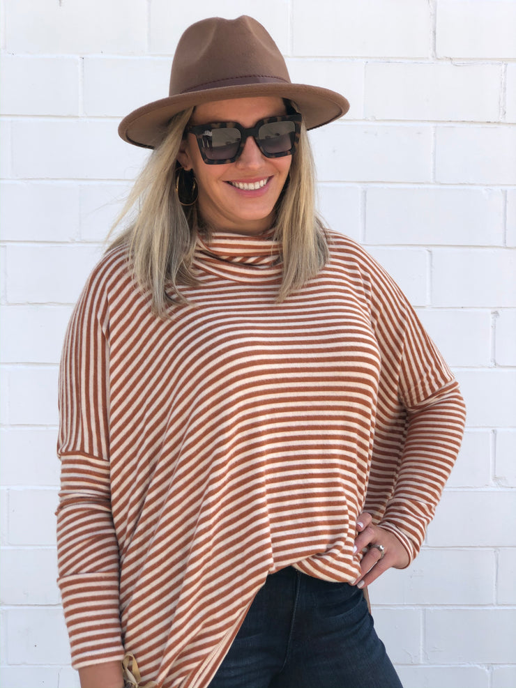 JOYFULLY YOURS STRIPED TOP - CAMEL