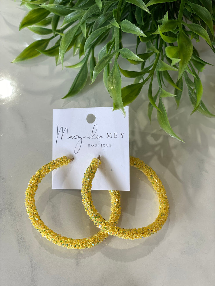 YELLOW SEQUIN HOOPS