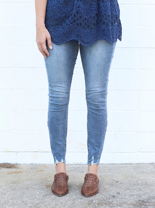 high rise jeans, skinny jeans, articles of society denim, distressed hem jeans