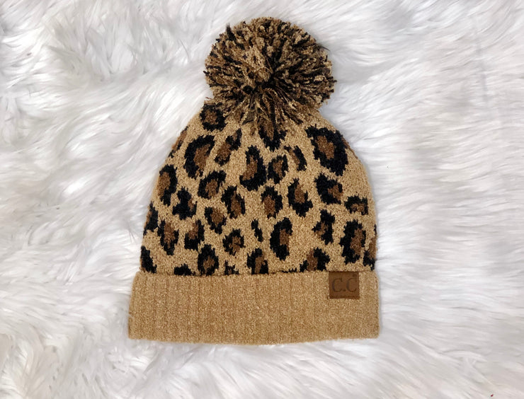 CHELSEA CHEETAH POM POM - BROWN