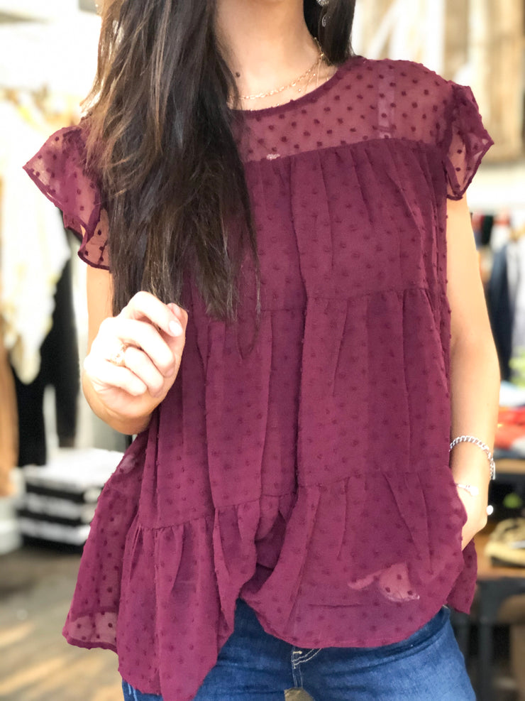 MANHATTAN BABYDOLL BLOUSE - BURGUNDY