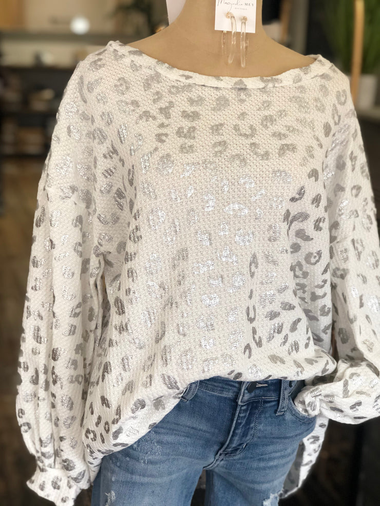FINLEY WAFFLE TOP - WHITE