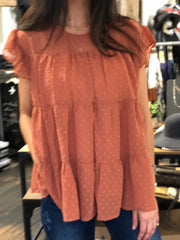 MANHATTAN BABYDOLL BLOUSE - RUST