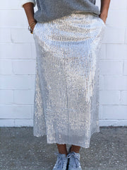 LATE NIGHT SKIRT - SILVER