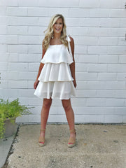 HAVE A BALL TIERED DRESS -WHITE