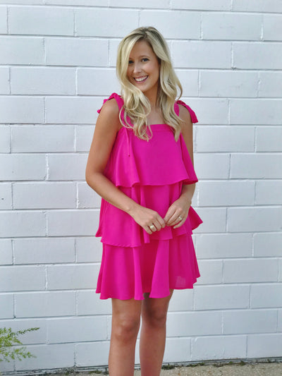HAVE A BALL TIERED DRESS -FUSCHSIA