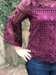 ALICE LACE TOP - PLUM