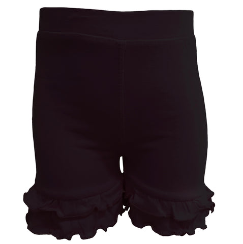 AnnLoren Little/Big Girls Black Stretch Cotton Knit Ruffled Shorts