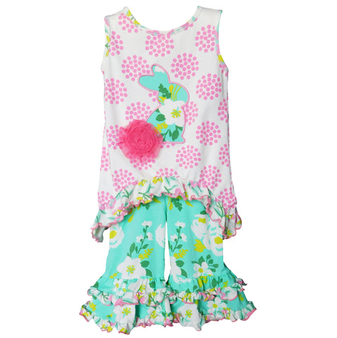 AnnLoren Big Little Girls Bunny Easter Tunic Spring Floral Ruffle Pant Capri's Holiday Clothing Set