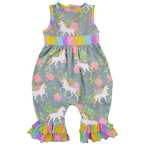 AnnLoren Boutique Baby Girls' Romper UNICORN & RAINBOWS Onesie Toddler Jumpsuit