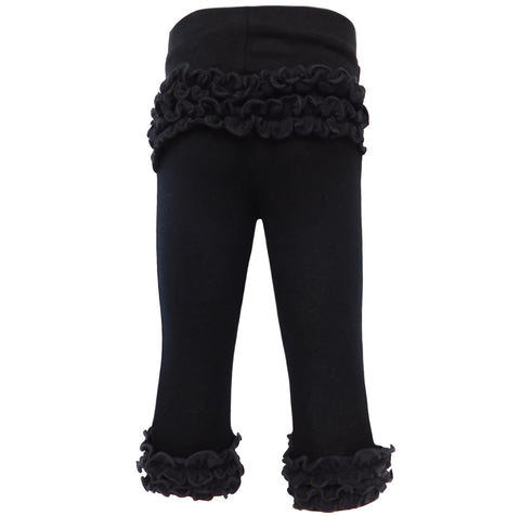 AnnLoren Baby Girls Boutique Black Ruffle Butt Leggings Set