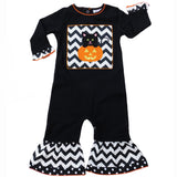 AnnLoren Baby Girls Black Cat & Orange Pumpkin Halloween Romper