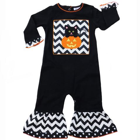 AnnLoren Baby Girls Black & White Halloween Kitten Pumpkin Holiday Romper