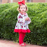AnnLoren Girls Red Floral Valentine's Day Bouquet Dress & Leggings Holiday Outfit