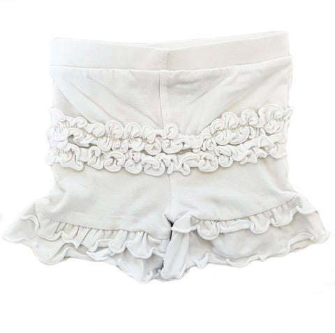 AnnLoren Baby Girls White Ruffle Butt Shorts 6/12 mo-2/3T