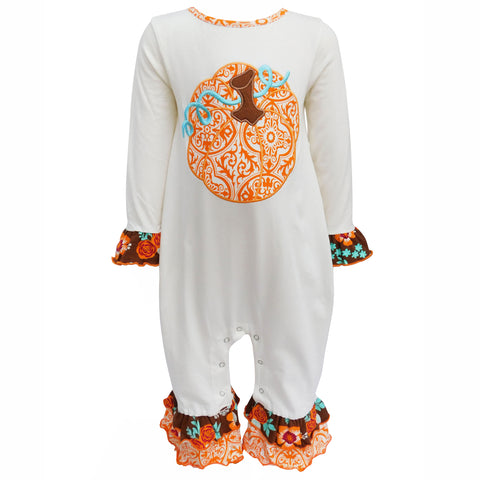 AnnLoren Baby Girls Unique Thanksgiving Fall Pumpkin One Piece Romper Size 6 Mo-24 Mo
