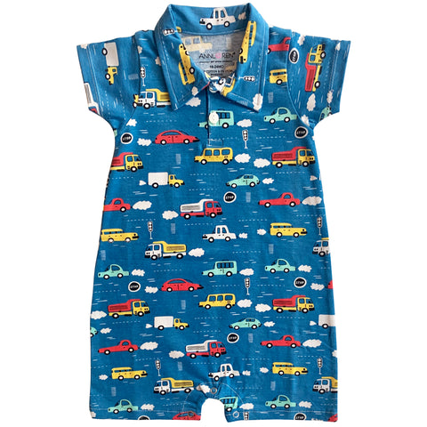 AnnLoren Automobile Cars Trucks Spring Collar Baby Boys Romper Toddler Jumpsuit Sizes 6M - 24M
