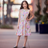 AnnLoren Girls Pastel Feather Cotton Knit Swing Dress
