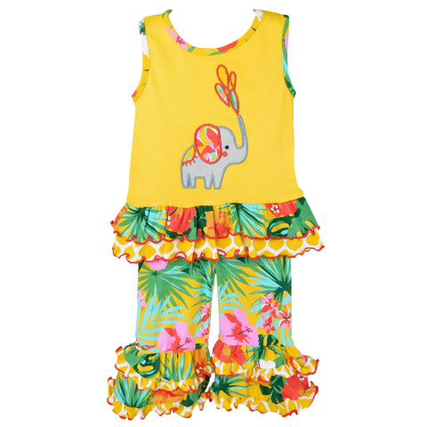 AnnLoren Big Little Girls Yellow Elephant Tunic & Tropical Hibiscus Capri Ruffle Pants Boutique Set