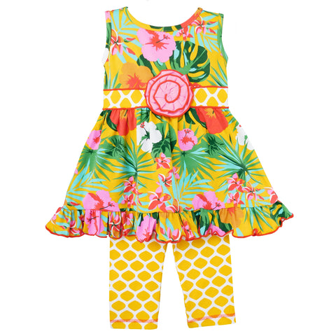 AnnLoren Big Little Girls Hawaiian Hibiscus Tropical Floral Dress & Yellow Leggings Boutique Set