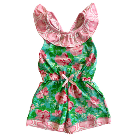 AnnLoren Little Big Girls Easter Jumpsuit Shabby Chic Floral Spring Summer Romper Sizes 2/3T - 11/12