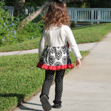 AnnLoren Girls Winter Damask Holiday Polka Dot Herringbone Dress Tunic & Leggings Set sz 2/3T-9/10