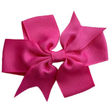 "Set of 3- Hot Pink 3"" Ribbon Bow Clips"